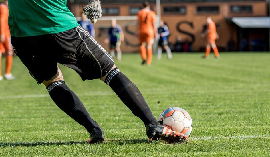 a man playing football