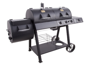 BBQ grill with side burner and charcoal chimney starter