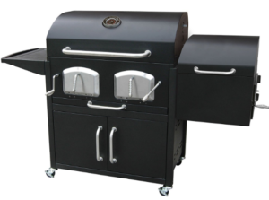 black charcoal grill with large removable ashtray