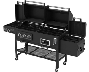 Black gas and charcoal grill