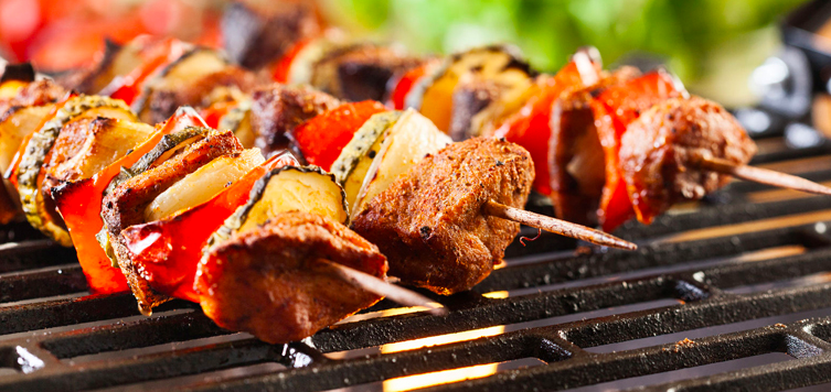 grilled meat and vegetables in a skewer