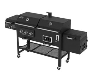 Black gas and charcoal grill with closed lid