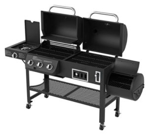 Charcoal and gas grill with side burner