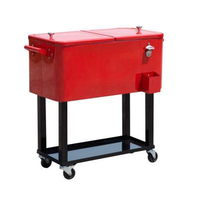 Frigidaire Retro Rolling Metal Cart Cooler