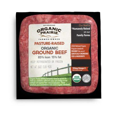 Prairie Pasture-Raised 85% Lean Organic Ground Beef