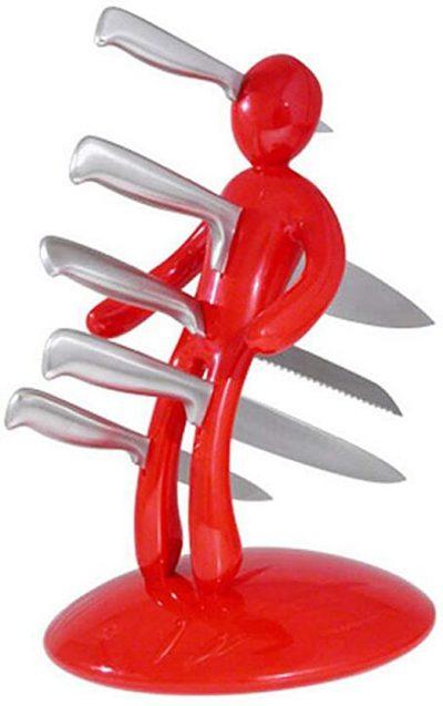 Premium 5-Piece Novelty Stainless Steel Knife Block Set