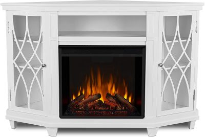 Real Flame 1750E-W Lynette Corner Electric Fireplace TV Stand
