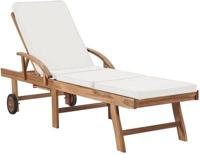 Sun Bed 2 Piece Teak Patio Chaise Lounge Set