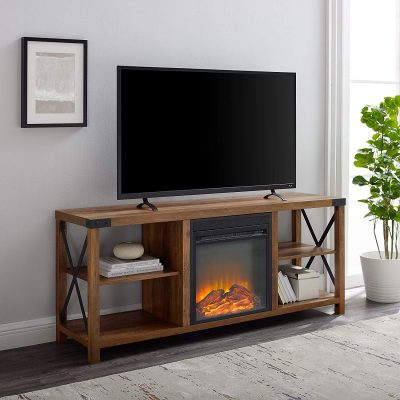 Walker Edison Modern Farmhouse Wood and Metal Fireplace Stand